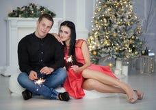 Couple celebrating christmas Stock Images