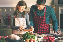Couple celebrating Christmas in the kitchen cooking christmas duck or Goose royalty free stock photography