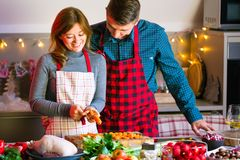 Couple celebrating Christmas in the kitchen cooking christmas duck or Goose stock images