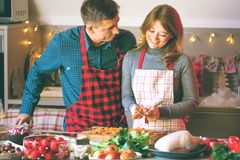 Couple celebrating Christmas in the kitchen cooking christmas duck or Goose royalty free stock photos