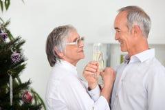 Couple celebrating Christmas Stock Photos
