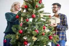 Couple celebrating christmas Royalty Free Stock Images