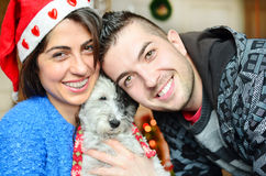 Couple celebrating Christmas with their dog Stock Photos