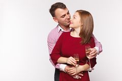 Couple celebrating holiday in fashion clothes. Concept marriage, date, st. Valentin`s Day . Couple celebrating holiday in fashion clothes. Concept marriage stock photos