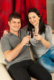 Couple celebrating home Stock Photo