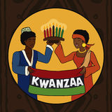 Couple Celebrating Kwanzaa Holidays in Button, Vector Illustration. Girl and boy in traditional attire holding Kwanzaa flag and kinara Royalty Free Stock Photography