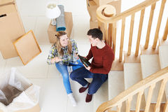 Couple Celebrating Moving Into New Home With Champagne Royalty Free Stock Photos