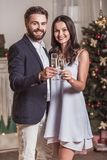 Couple celebrating New Year. Merry Christmas and Happy New Year! Cheerful and elegant couple is holding glasses of champagne, looking at camera and smiling while Stock Images