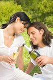 Couple celebrating at picnic Royalty Free Stock Image