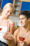 Couple celebrating with red wine Royalty Free Stock Photography