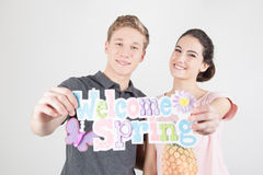 Couple celebrating the start of spring Royalty Free Stock Photo