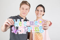 Couple celebrating the start of spring Royalty Free Stock Photography