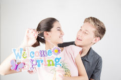 Couple celebrating the start of spring Stock Photos
