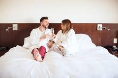 Couple celebrating their honeymoon Royalty Free Stock Photos