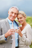 Couple celebrating together with champagne Stock Image