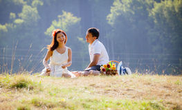 Couple celebrating together at picnic Royalty Free Stock Photo