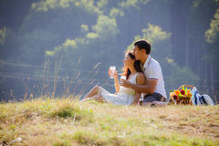 Couple celebrating together at picnic Stock Photos