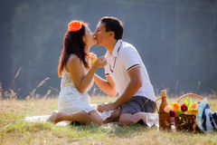 Couple celebrating together at picnic royalty free stock images