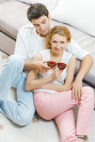 Couple celebrating with wine Royalty Free Stock Photography
