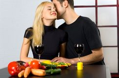 Couple celebrating with wine Stock Image