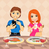 Couple with cell phone at table. Illustration of couple with cell phone at table Royalty Free Stock Photos