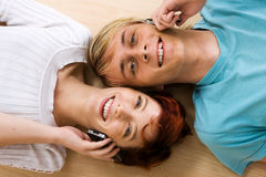 Couple with cell phones Royalty Free Stock Photo