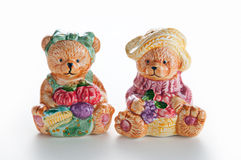 Couple Ceramic Bears. Two Ceramic bears isolated with white background Royalty Free Stock Images