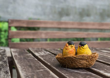 The couple of ceramic birds for decoration Royalty Free Stock Image