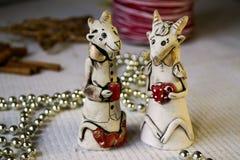 Couple of ceramic goats royalty free stock photos