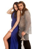 Couple chain mail leg look down Stock Photo