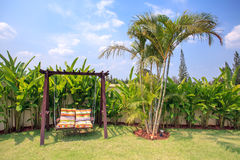 Couple chair in the garden background royalty free stock photography