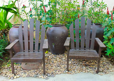 Couple chair in the garden Royalty Free Stock Image