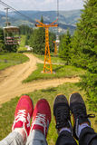 Couple in Chairlift Royalty Free Stock Photos