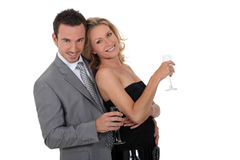 Couple with  champagne Royalty Free Stock Photography