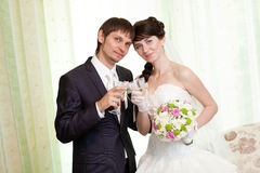 Couple with champagne Stock Photography