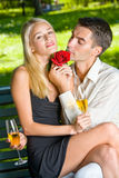 Couple with champagne Stock Images