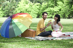 Couple with champagne glasses in the park Stock Image