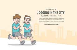 Couple character running for weight loss in city background before and after illustration vector royalty free illustration