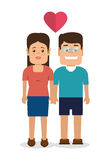 Couple characters with heart love Royalty Free Stock Photos