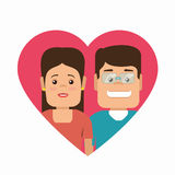 Couple characters with heart love Stock Images
