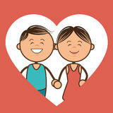Couple characters with heart love Royalty Free Stock Photo