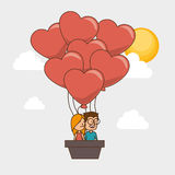 Couple characters with heart love Royalty Free Stock Image