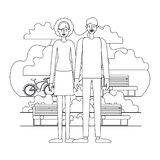 Couple characters in the park with bicycle. Vector illustration design royalty free illustration