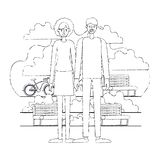 Couple characters in the park with bicycle. Vector illustration design vector illustration