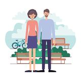 Couple characters in the park with bicycle. Vector illustration design stock illustration
