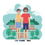 Couple characters in the park scene. Vector illustration design stock illustration