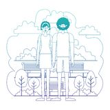 Couple characters in the park scene. Vector illustration design vector illustration
