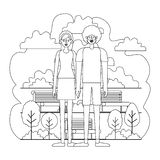 Couple characters in the park scene. Vector illustration design royalty free illustration