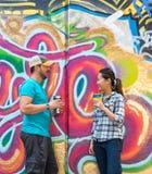 Couple Chatting in Skatepark Stock Photos