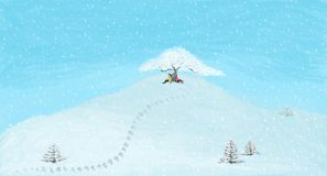 Couple chatting under the tree on the snowy mountain Royalty Free Illustration
